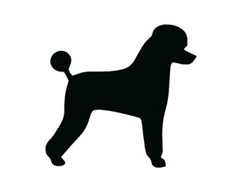 Basic Standard Poodle Dog Breed Silhouette Custom Die Cut Vinyl Decal Sticker - Choose your Color and Size