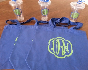 Monogrammed Bridesmaids Gifts - Set of 3 Tote Bags and 3 Tumblers