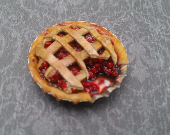 1:12 Scale Miniature Cherry Lattice Pie with Slice