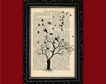 Winter Tree with Flying Birds Art Print Silhouettes Poster Dorm Room Print Gift Print Wall Decor Poster Dictionary Print Landscape Art