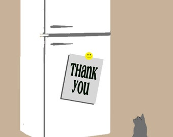 """Thank You Card with Retro Fridge and Cat - Printable 5"""" x 7"""" Card"""