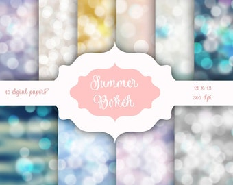 Summer Bokeh Digital Paper Pack -  Pastel Bokeh Lights backgrounds for scrapbooking, wedding invitations - Instant Download