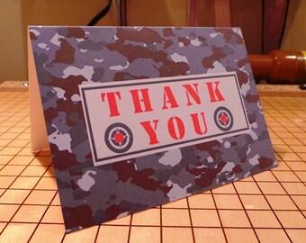 set of 10 camo thank you notes