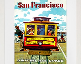 San Francisco Poster Art Travel California Home Decor Print (TR68)