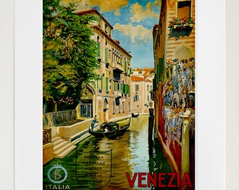 Travel Art Print Venice Italy Vintage Home Decor Poster (ZT150)