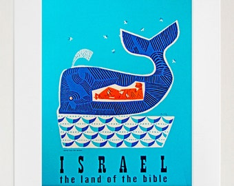 Israel Travel Art Print Jonah Whale Vintage Home Decor Poster (ZT142)