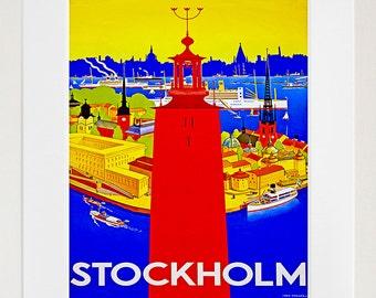 Sweden Travel Poster Stockholm Wall Art Print (ZT325)