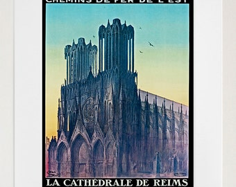 Reims France Travel Poster French Decor Wall Art Print (ZT259)