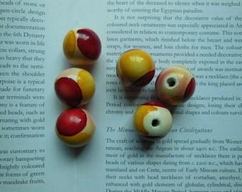 25mm hand painted geometry wood beads, 10 beads