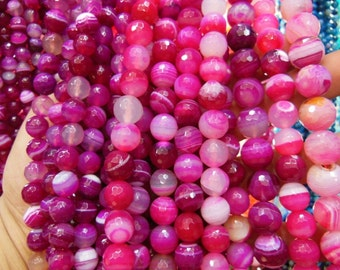 faceted agate beads, fuchsia color, 15.5 inch