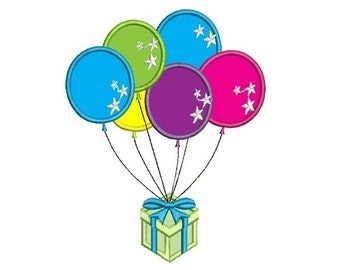 Birthday Ballons Applique Machine Embroidery Design Digitized Pattern -Instant Download