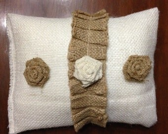 burlap wedding pillow with flowers