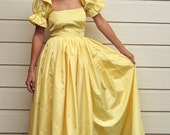 Ladies Fancy Dress Princess Yellow Satin Belle Dress - Costume - Size Small