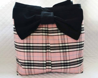 Tote Bag Purse Pink white and Black