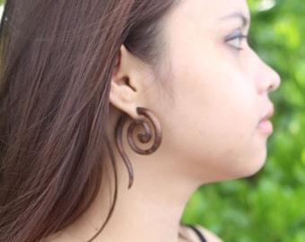 Fake Gauge Wooden Tribal Earrings, Sono Wood, Beautiful Fake Wooden Gauge