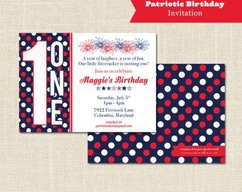 PATRIOTIC BIRTHDAY INVITATION, 1st Birthday, digital file or professional printing available