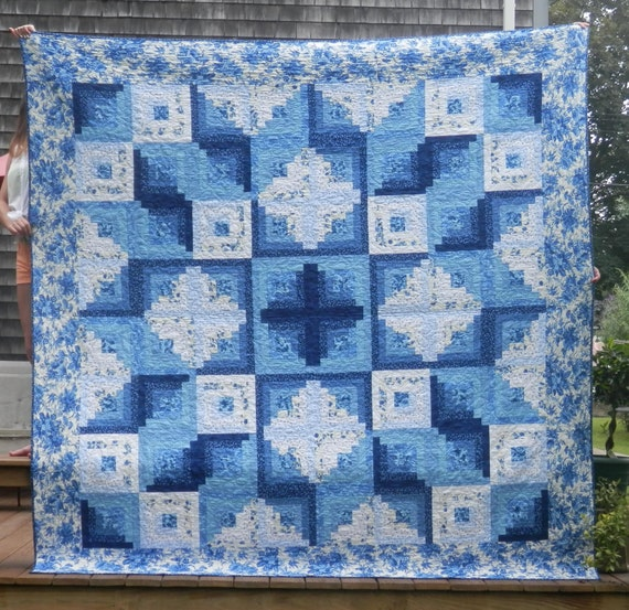 Queen Size Blue Amp White Star Log Cabin Quilt Machine Pieced