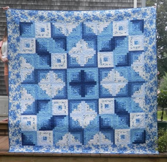 Queen-size Blue & White Star Log Cabin quilt machine pieced