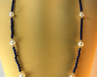 Lapis And Pearl Necklace