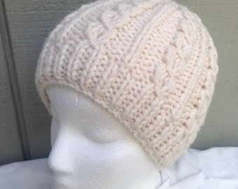 Knitted Aran beanie - Knit Womens hat - Chunky knit beanie - Bulky knit hat - Teens wool hat