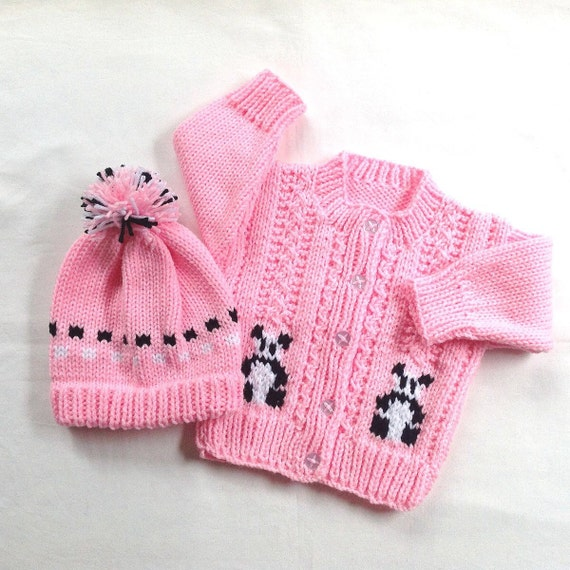 Knitting Patterns For Baby Girl Sweaters : Baby girl cardigan and hat set 6 to 12 months by LurayKnitwear