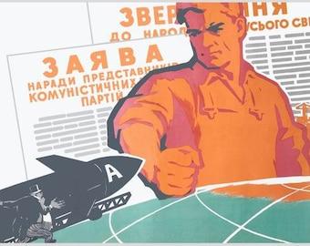 Cold war period USSR anti-war propaganda poster