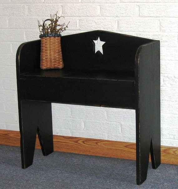 Small Colonial Primitive Black Boot Bench