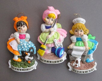 70s Nursery Rhyme Plaques Three Little Girls