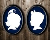 2 Traditional Profile Silhouettes of brother and sister, Custom Silhouettes from your photo, Custom Sibling Art, Custom Silhouette Wall Art