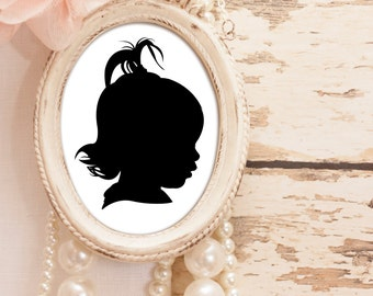 Traditional Profile Silhouette, Custom Silhouette from your photo, Children's room decor, Silhouette Art, Silhouette Portrait