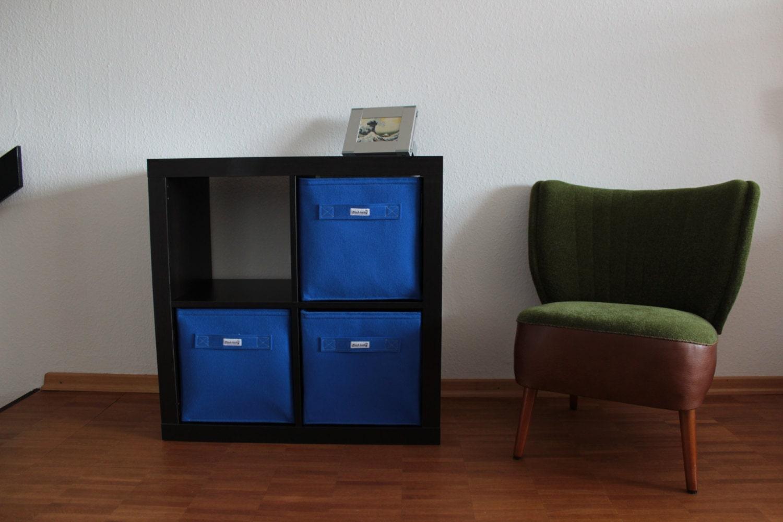 blue felt boxes fit into ikea expedit and kallax felt storage. Black Bedroom Furniture Sets. Home Design Ideas