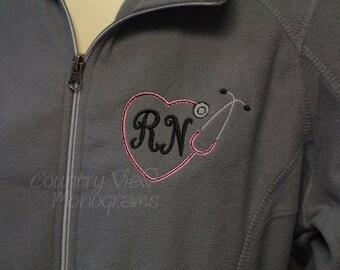 Monogrammed Nurses Fleece Jacket--Grey with Pink and Black-RN LPN zip up light weight fleece jacket with several color options