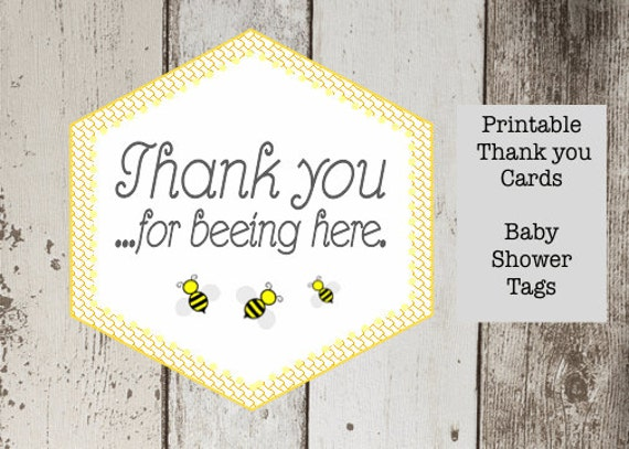 Bee Baby Shower Printable Favor Thank You Card Bumble Tag Label For Beeing Here Stickers INSTANT DOWNLOAD Pdf