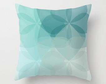 Geometric Flower Pillow  - Teal Turquoise Blue - Abstract Flower Throw Pillow - Accent Pillow - Mid Century Home Decor - By Aldari Home