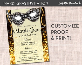 Mardi Gras Invitation - Black and Gold Mardi Gras Mask - Printable Customized