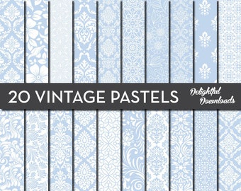 "Blue Floral Digital Paper ""20 VINTAGE PASTEL BLUES"" with 20 blue floral damask digital papers for scrapbooking, cards, prints."