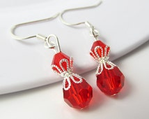 Red Earrings, Red Jewelry, Red Bead Earrings, Red Bead Jewelry, Red Drop Earrings, Red Drop Jewelry, Red Gift, Beaded Earrings, Light Siam