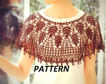 PATTERN collar crochet necklace scarf women cape shawl poncho summer