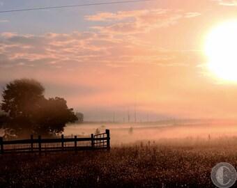 Landscape Photography - Foggy Sunrise on the Farm  8 x 10 Lustre or Metallic Finish. Countryside - GA