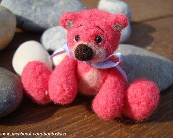 Needle felted Teddy Bear - pink:)