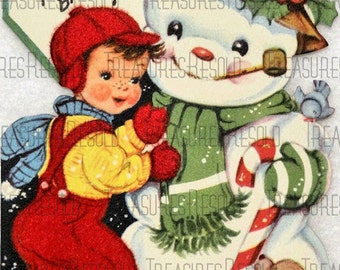 Retro Boy With Snowman Christmas Card #21 Digital Download