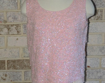 Vintage Estate Pink Sequin and Beaded Sleeveless Wool Top