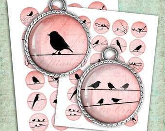 Red Bird Silhouettes 25mm, 12mm, 1 inch, 1.5 inch Bottle cap Images, Cabochon images Printable Digital Collage Sheet