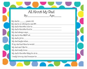 Father's Day, All About My Dad questionnaire, Questions for kids about dad