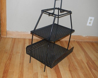 Vintage Black Wrought Iron Metal S tand Mid Century Modern Home Decor