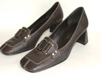 Brown Loafer Leather Pumps Size 7