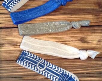 BOGO 50% OFF Indianapolis Colts-inspired Hair Tie Set, Women's Hair Ties, Football Hair Ties, Set of Five