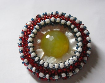 Mother of Pearl brooch set with beads