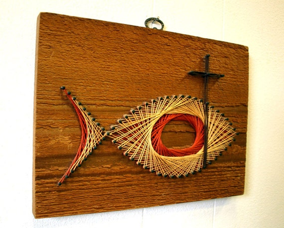 Items similar to vintage cross fish string art wall for Fish string art