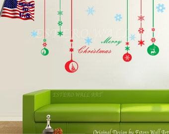 "Removable ""Christmas Decal 4"" wall Stickers, Removable wall decals, Nursery wall decal, home decor, holiday"